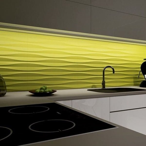 Eclectic 3D panel backsplash kitchen wall art idea