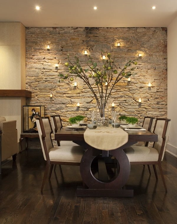 Exposed brick wall dining room wall decor #homedecor