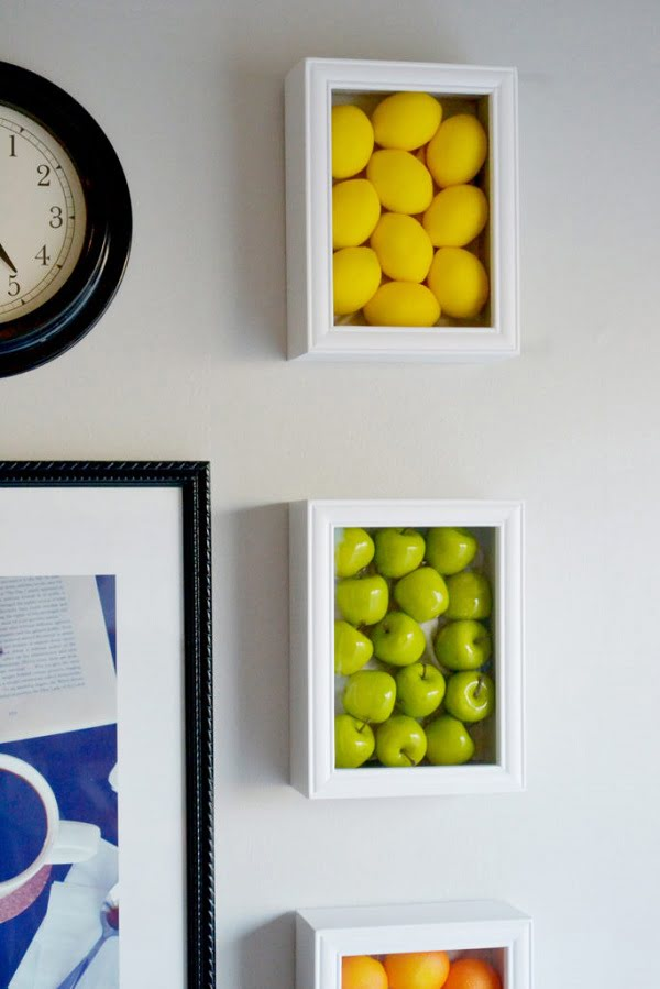How to make fake fruit shadowbox  kitchen wall art