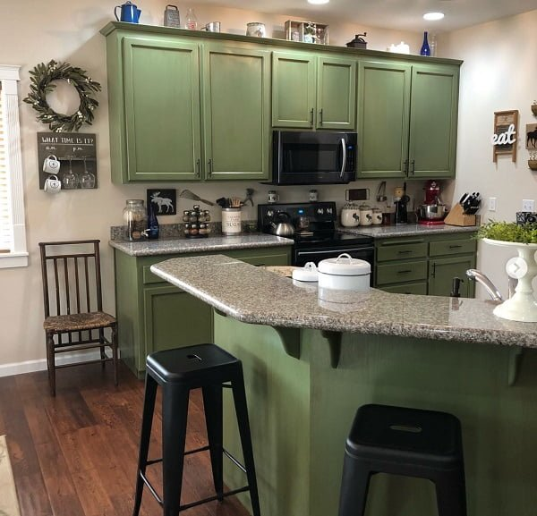 Farmhouse green kitchen cabinets