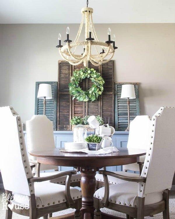 Farmhouse shutters dining room wall decor #homedecor #rustic