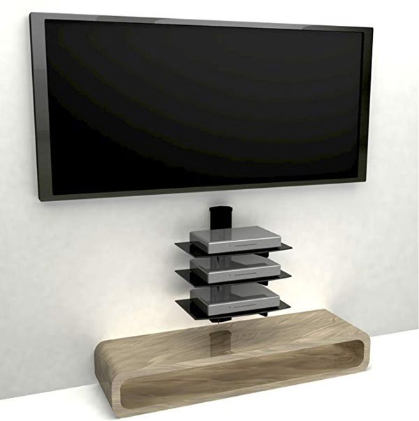 Floating TV shelf with tempered glass