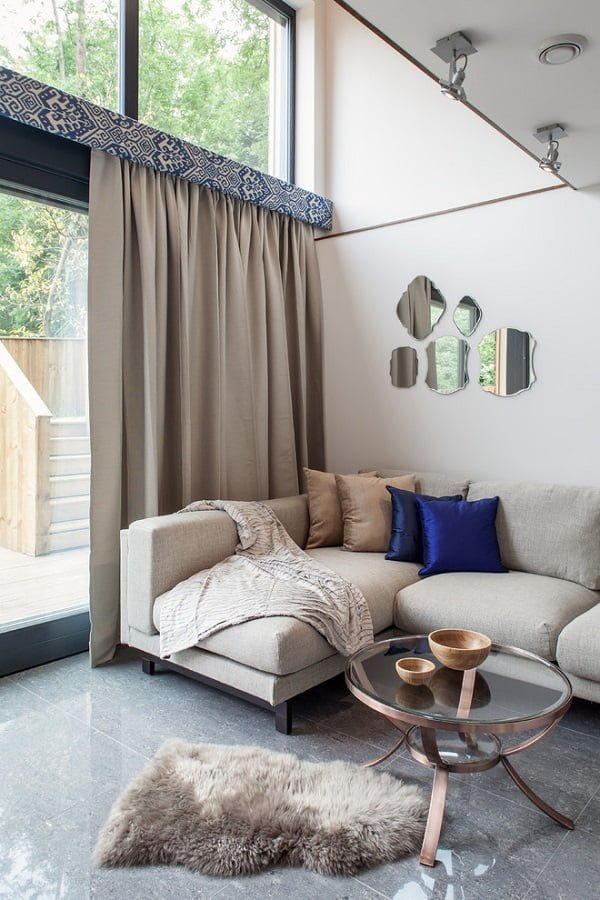 Floor length grey living room curtains