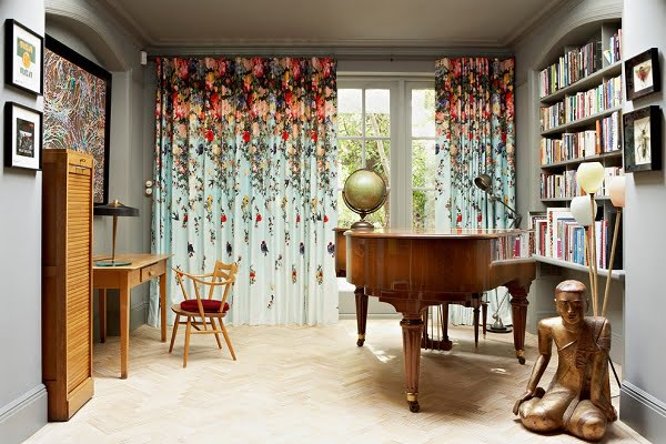 Floral eclectic living room curtains