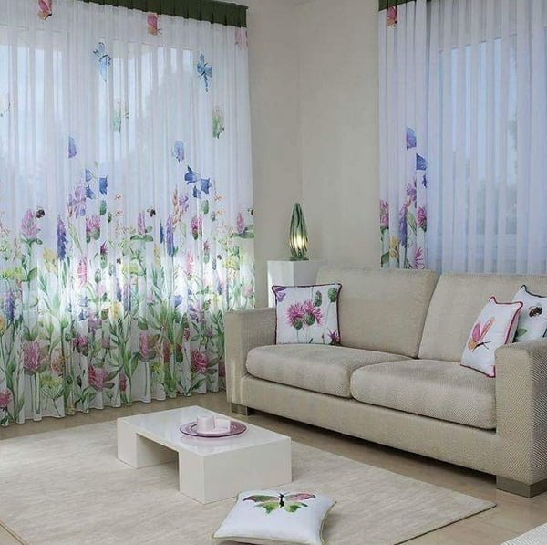 Floral pattern living room curtains