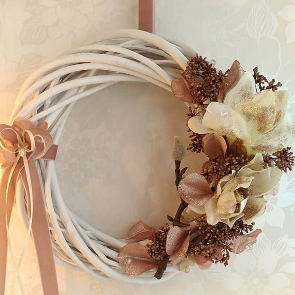 Rustic Magnolia Floral Wreath Idea