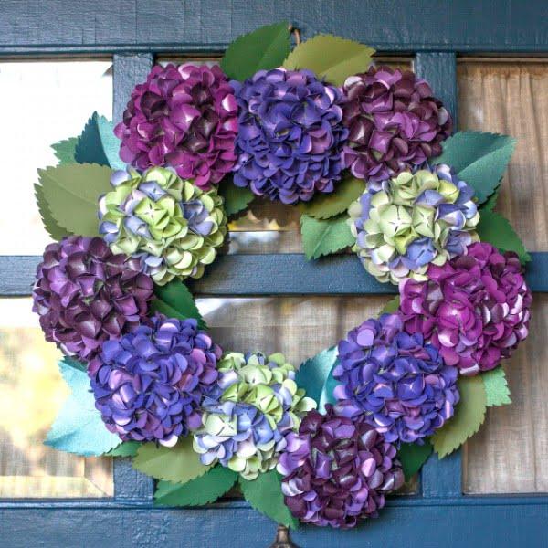 #DIY Paper Hydrangea Floral Wreath #wreaths
