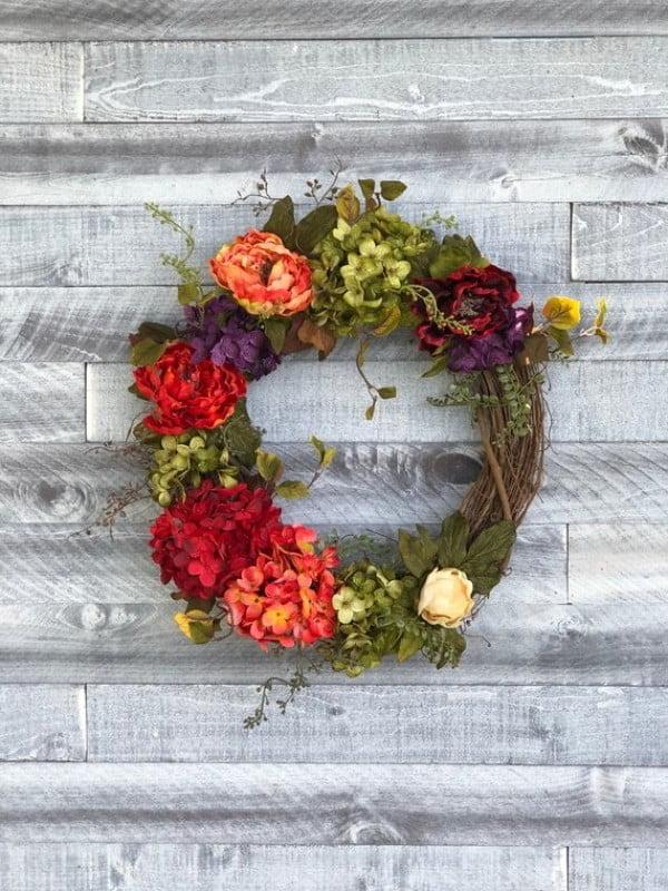 Twig Floral Wreath Idea #wreaths