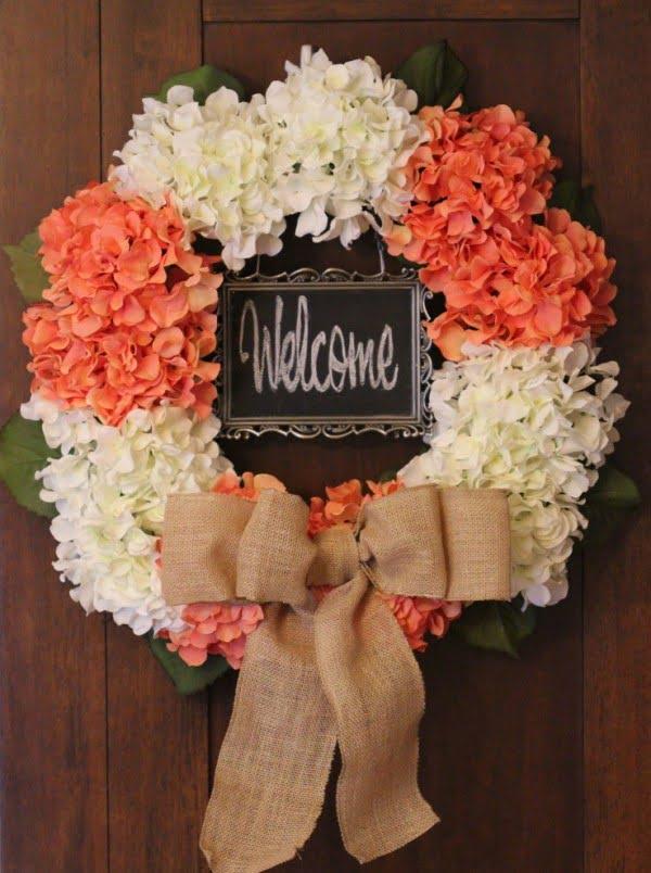 Rustic Burlap Floral Wreath Idea #wreaths