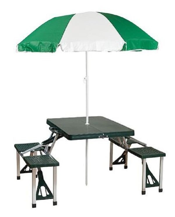 Foldable picnic table with umbrella