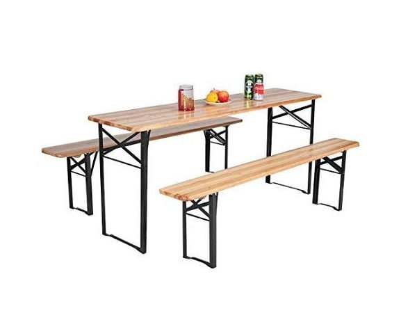 Foldable wooden picnic table with benches