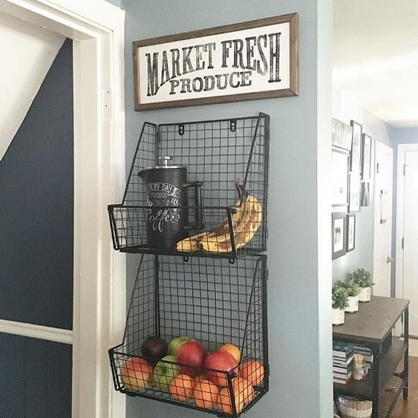 Fresh produce shelves kitchen wall art