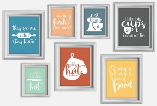 Funny signs kitchen wall art idea