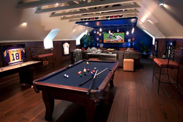 Sports Bar Themed Game Room Idea #homedecor