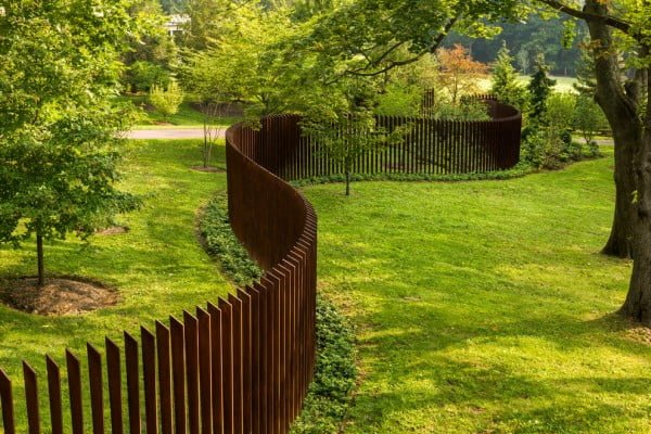 Redwood Slat Garden Fence