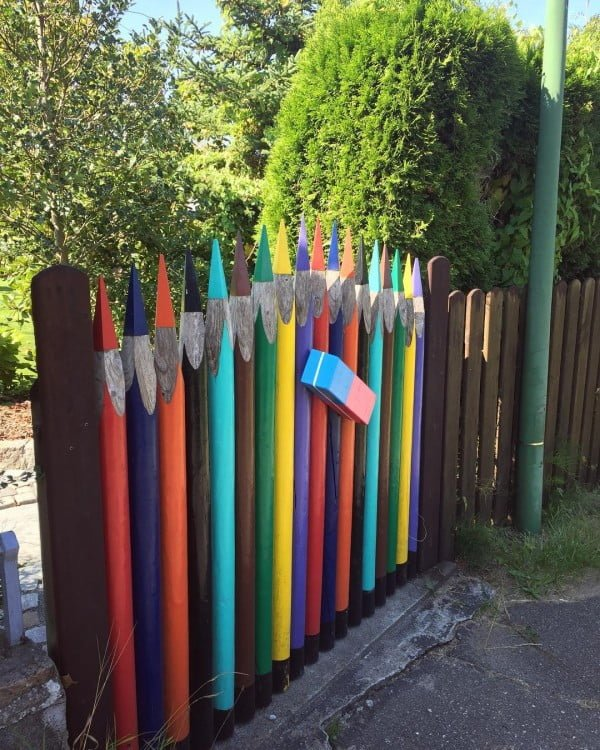 Whimsical Pencil Garden Fence #garden