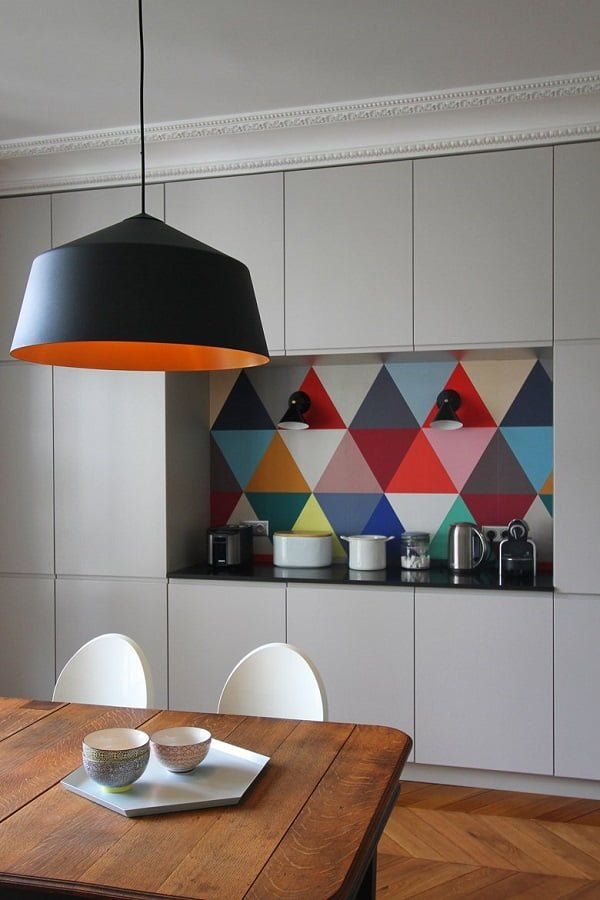 Geometric kitchen wall art idea