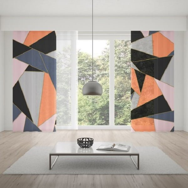 Geometric living room curtains