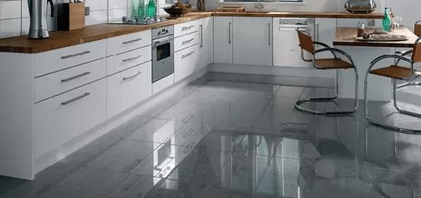 Gloss kitchen floor tile idea