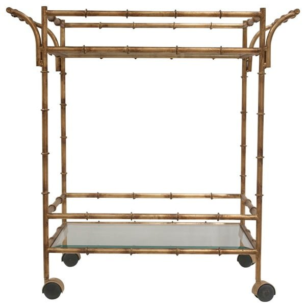 Gold bamboo tea cart