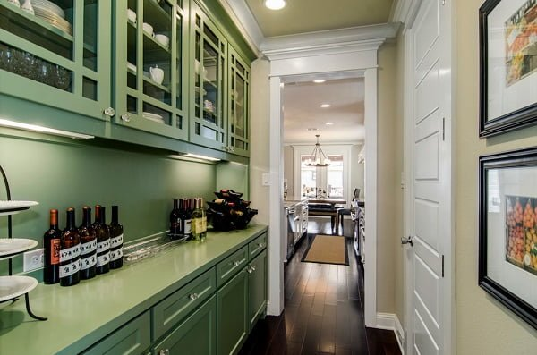 Green kitchen cabinets and countertops