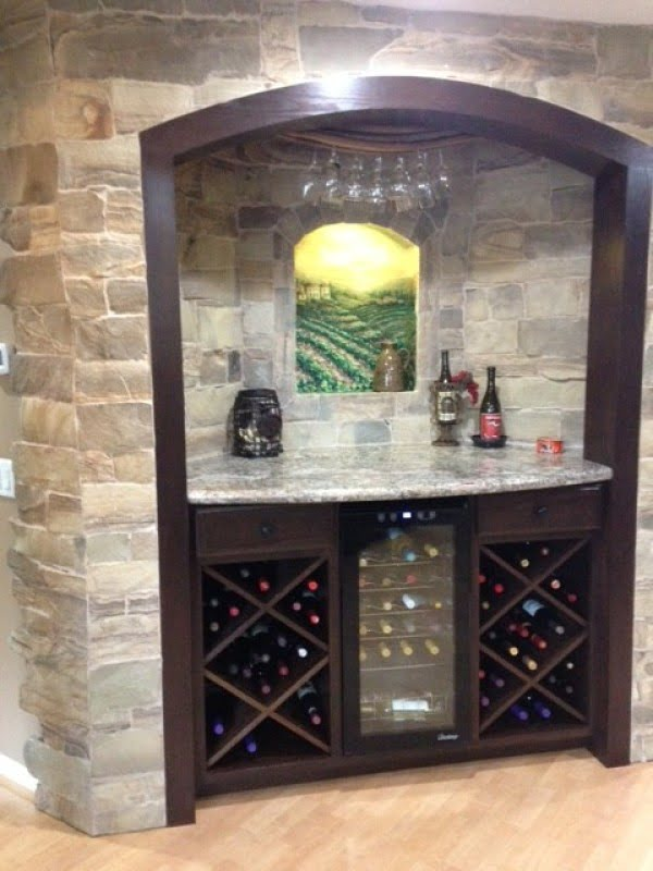 Tuscan Style Home Basement Bar #homedecor