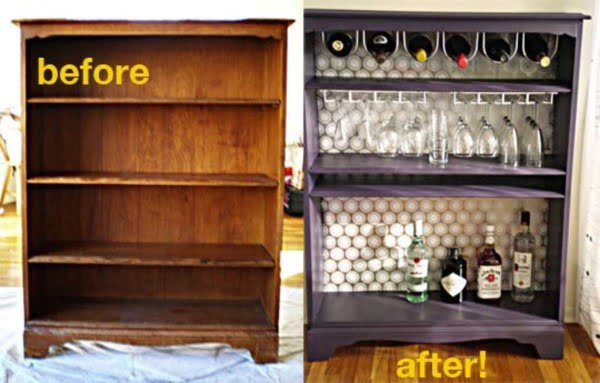 Turn an Old Bookcase into a Home Bar #homedecor