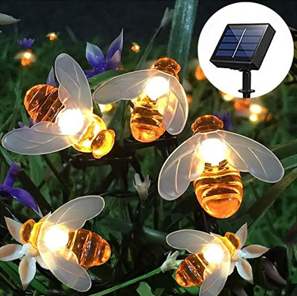 Honey bee solar string lights