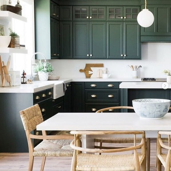 Hunter green kitchen cabinets #homedecor