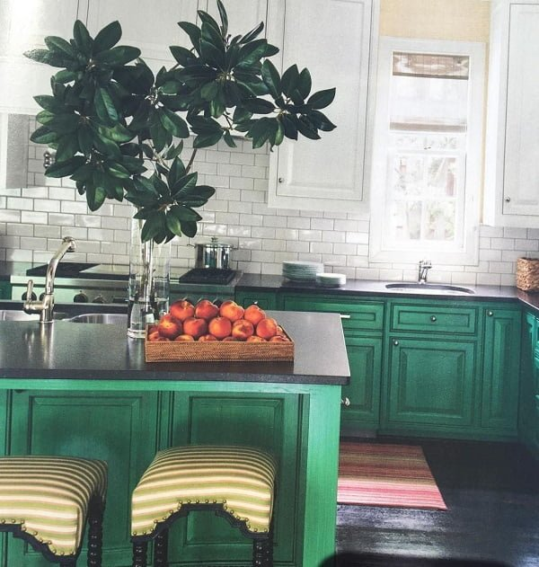 Jade green kitchen cabinets #homedecor