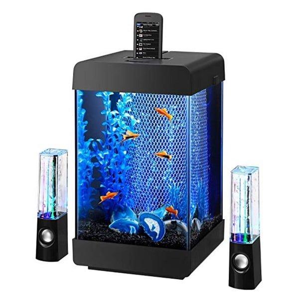 Jukebox aquarium with water speakers