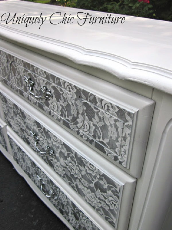 Shabby Chic Dresser Makeover with Lace
