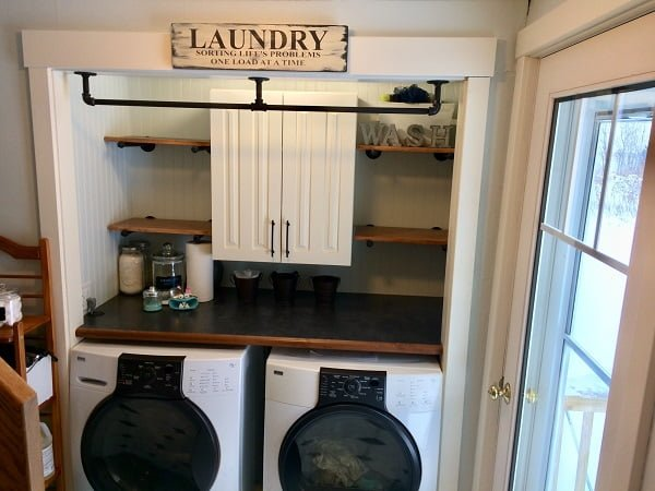 Laundry room floating shelves