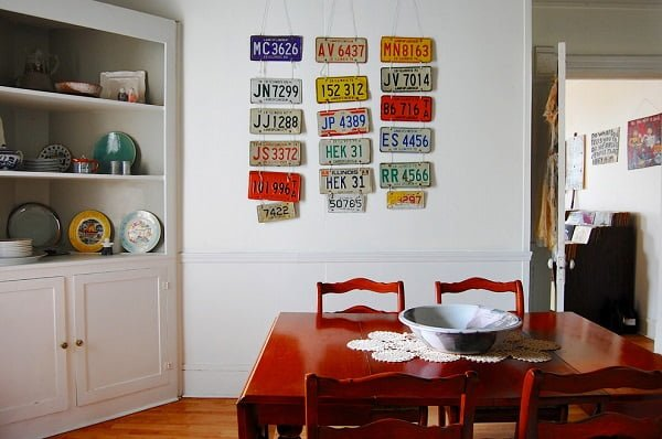 License plates dining room wall decor #homedecor