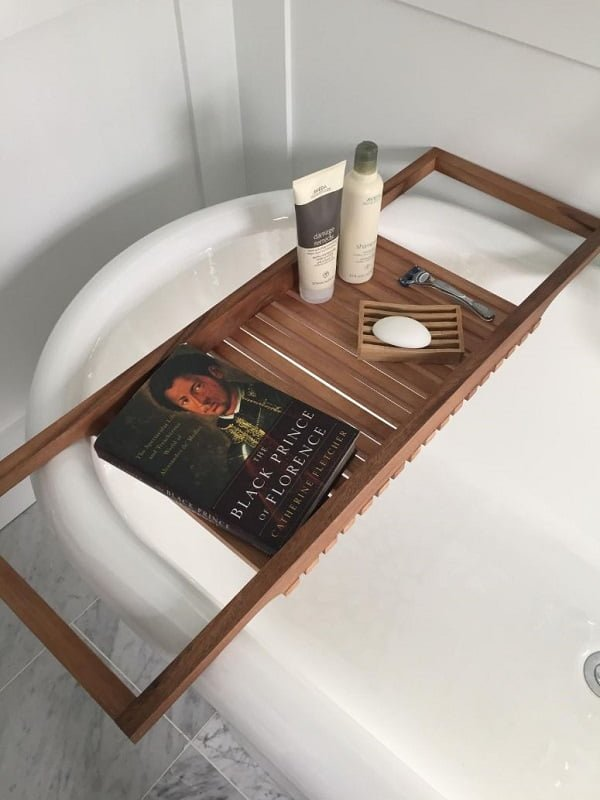 Long teak wood bathtub tray
