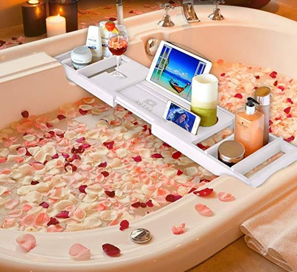 Luxury style white bathtub tray