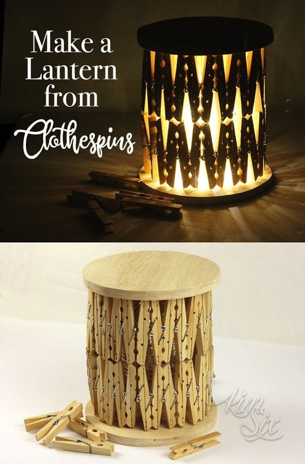 How to make a  clothespins lantern