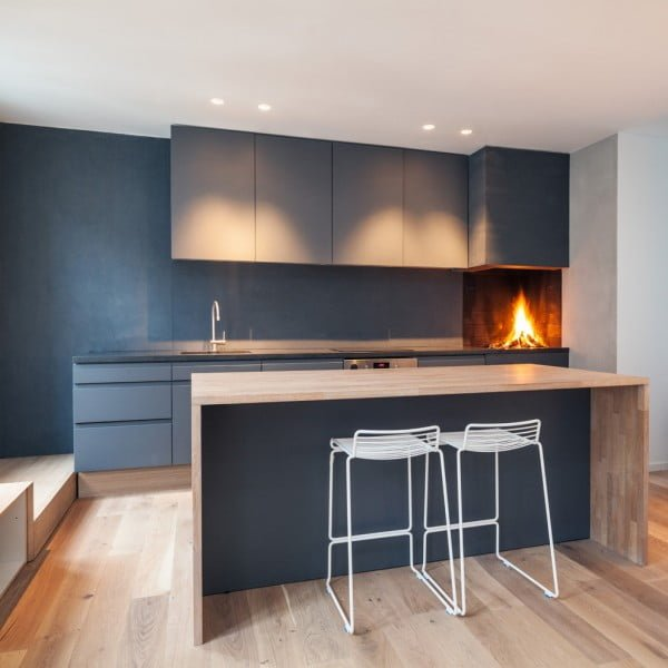 Fireplace Focal Point in a Minimalist Apartment