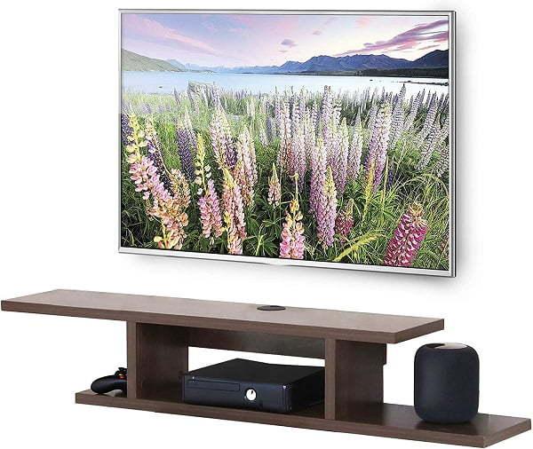 modern floating under tv shelf