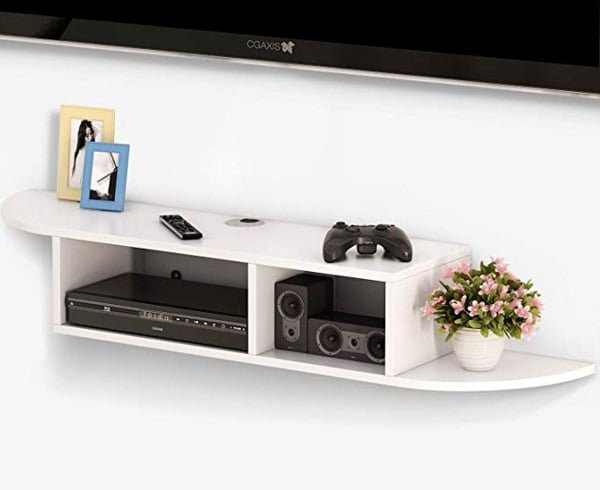 Modern floating under TV shelf