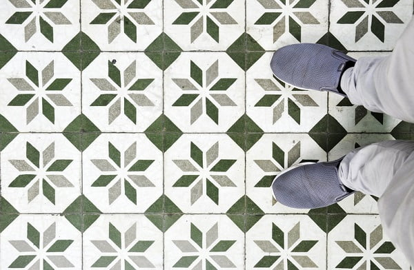 Mosaic kitchen floor tile idea