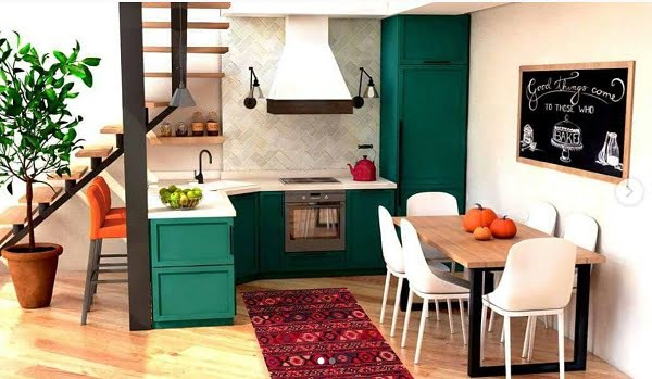 Open space jade green kitchen cabinets