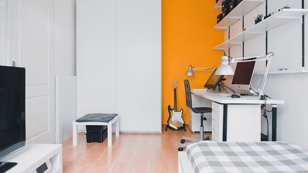 Minimalist Apartment with a Pop of Orange
