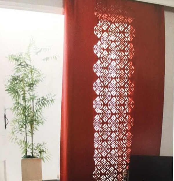 Oriental pattern living room curtains