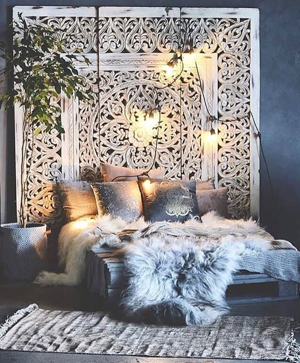Ornate oversized headboard boho bedroom