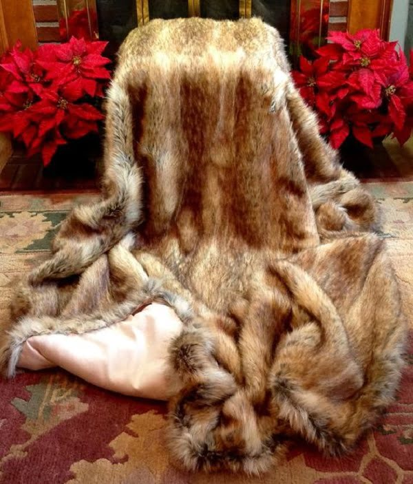 Oversized faux fur blanket
