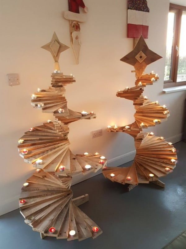 Spiral pallet #Christmas trees #homedecor