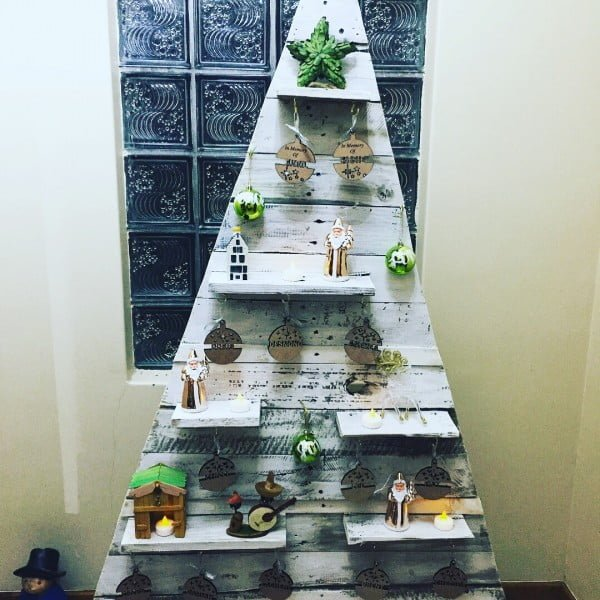 White pallet #Christmas tree with shelves #homedecor