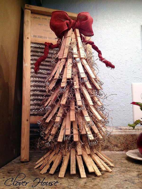 Pallet wood clothespin #Christmas tree #homedecor