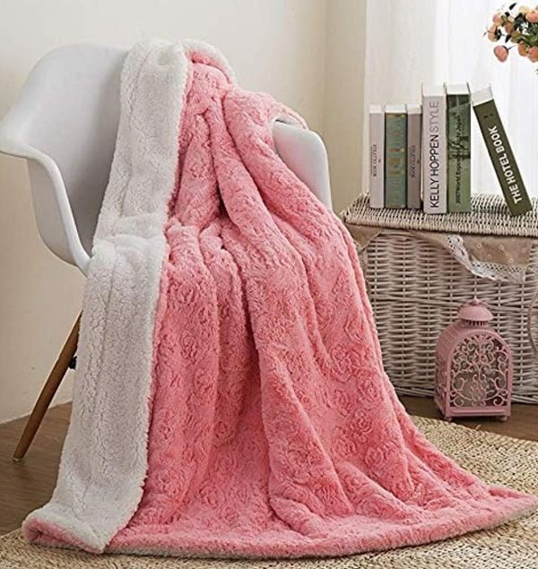 Pink faux fur blanket